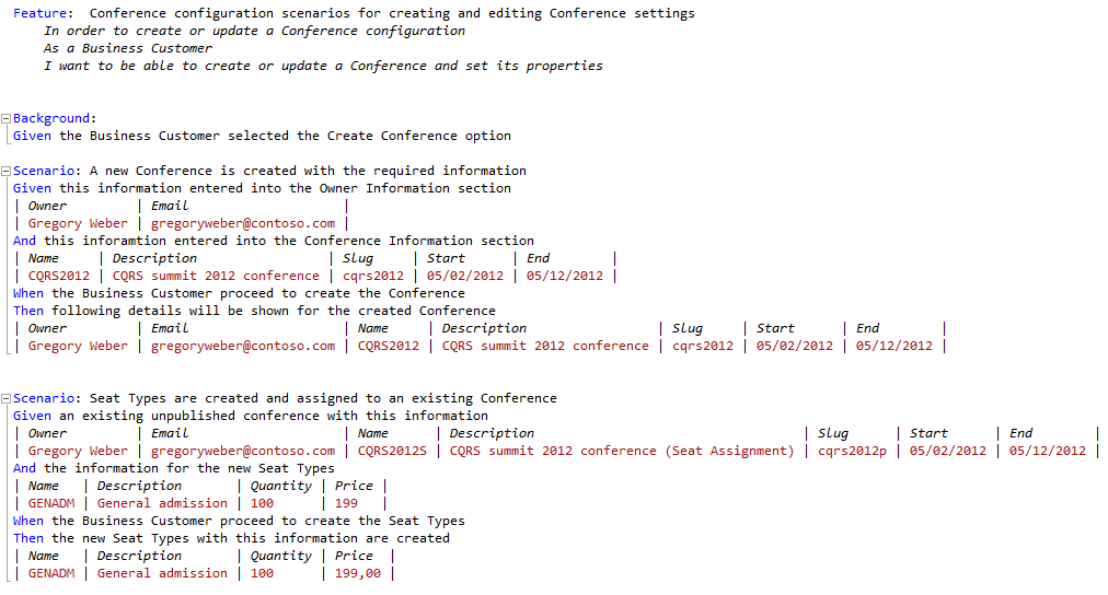 Conference management Feature sample in SpecFlow